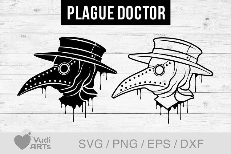 Plague Doctor mask Svg. Steampunk Print, vector clipart example image 1