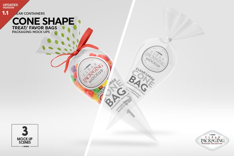 Clear Large Cone Bag Packaging Mockup