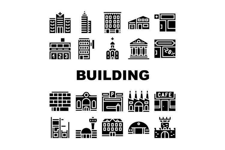 Building Architecture Collection Icons Set Vector example image 1