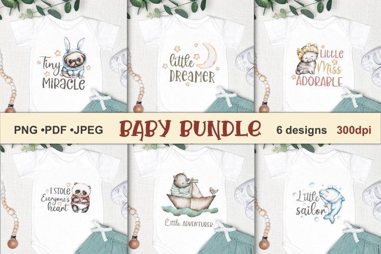 Baby bundle Sublimation designs T-shirt Watercolor animals