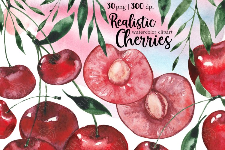 Kitchen clipart, Food clipart, Watercolor Cherry clipart png