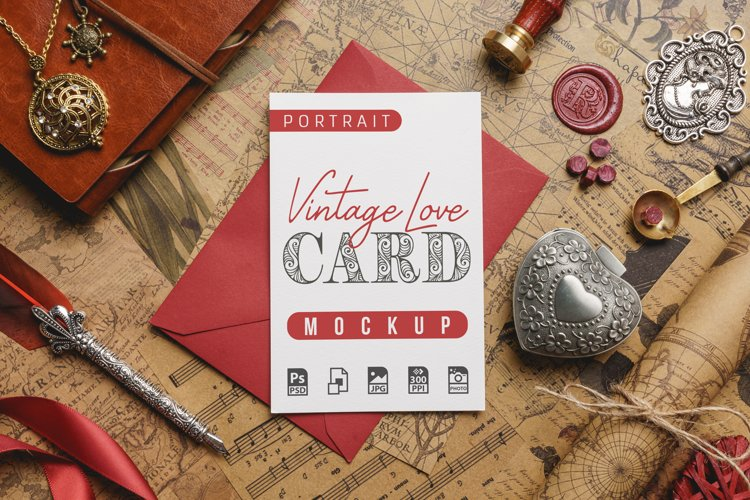 Vintage Love Card Mockup example image 1