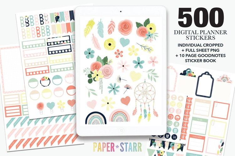 500 Boho Spring Floral Digital Planner Stickers