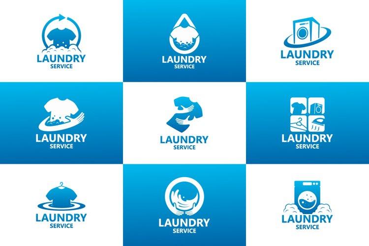 Set of laundry service logo template design