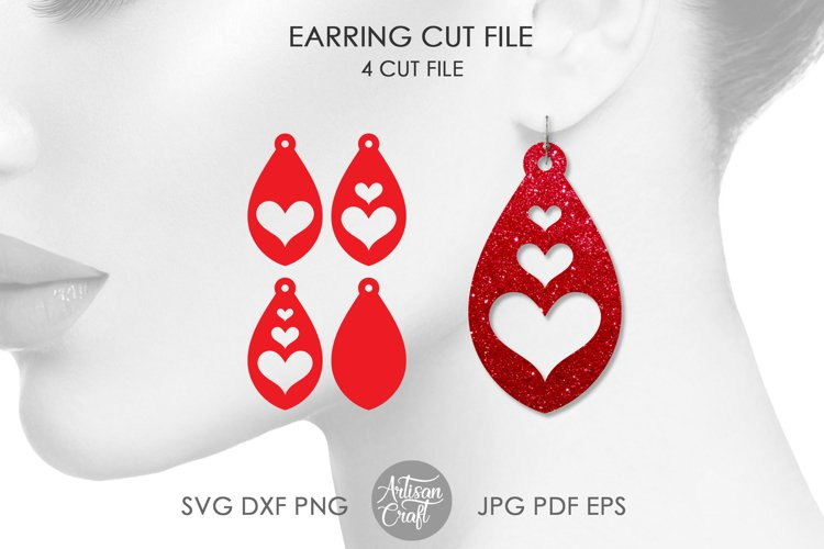 Tear drop earrings SVG, valentines jewelry, heart earrings example image 1