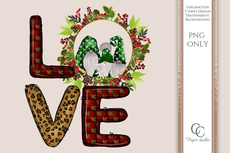 LOVE PNG - sublimation design - Christmas gnome wreath green example image 1