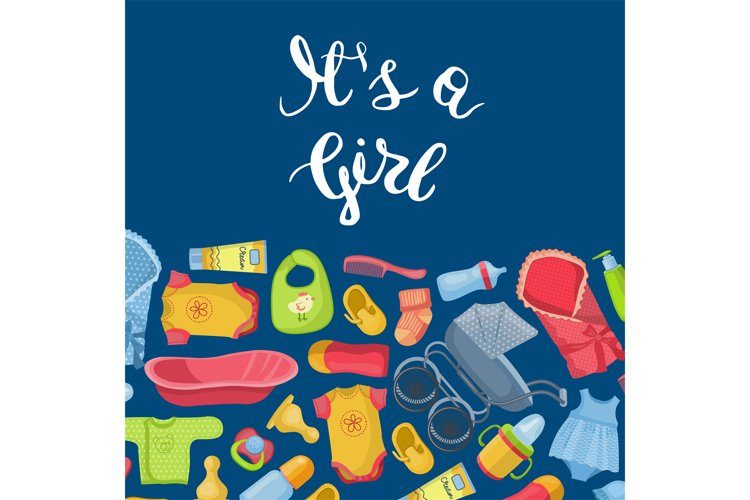 Vector it is girl illustration with lettering and baby acces example image 1