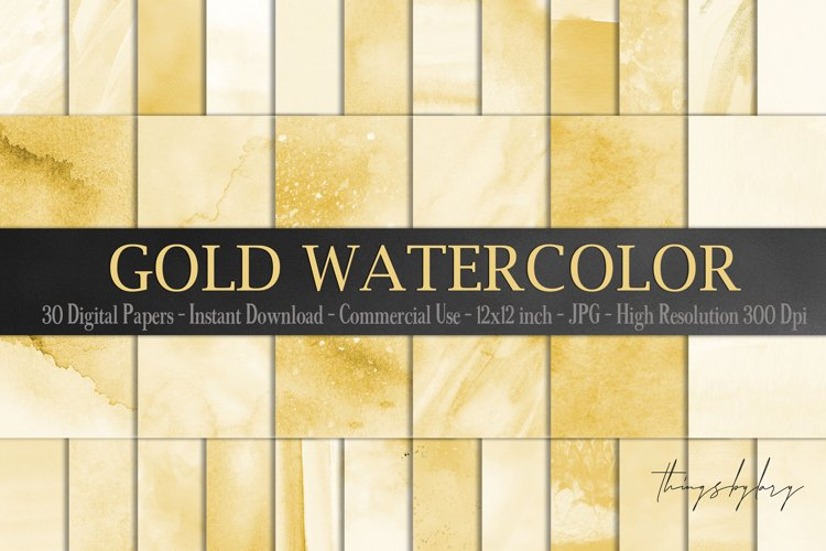 30 Ombre Gold Paint Brush Stroke Watercolor Digital Papers