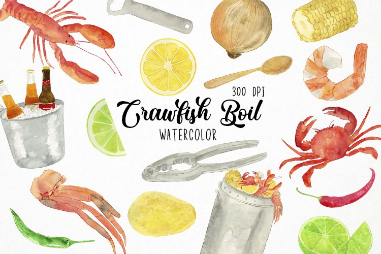 Watercolor Crawfish Boil Clipart, Seafood Clipart