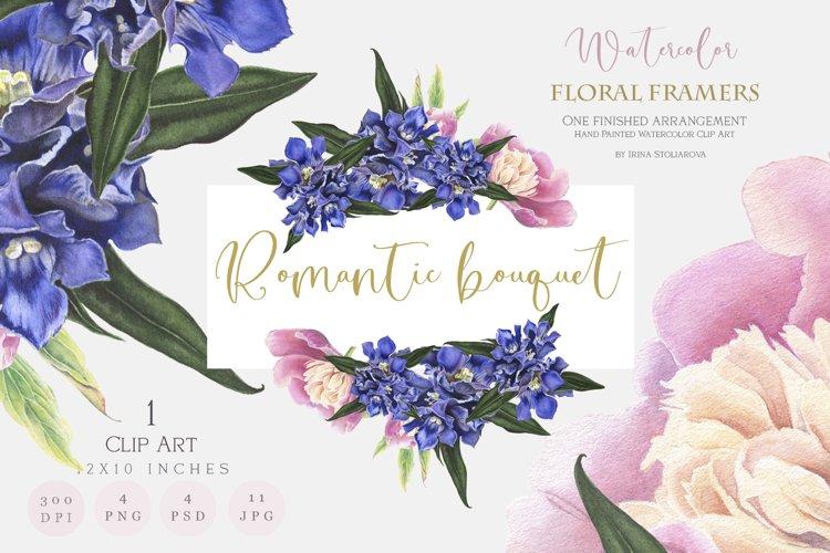 Wedding flower frame -Watercolor Romantic Flower Clipart.