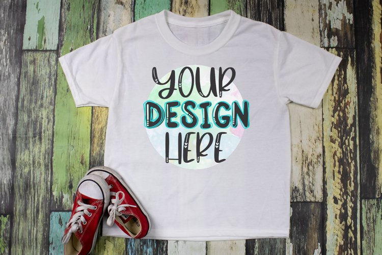 Kids Sublimation Shirt Mock Up - Red Shoes example image 1