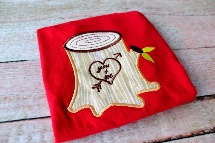Tree Stump with Heart Applique Embroidery Design example image 1