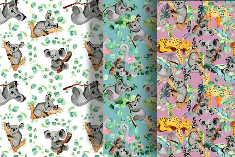 Cute watercolor exotic animals seamless pattern example