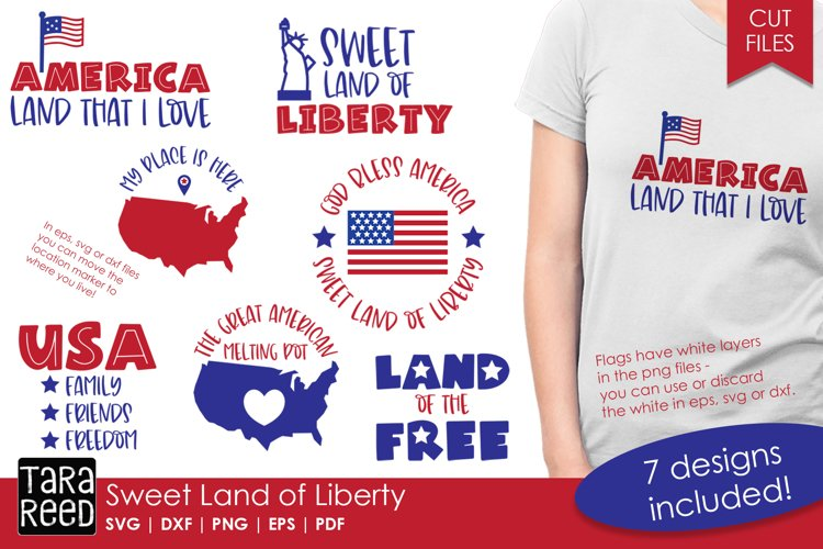 Sweet Land of Liberty - American Patriotic SVG and Cut Files