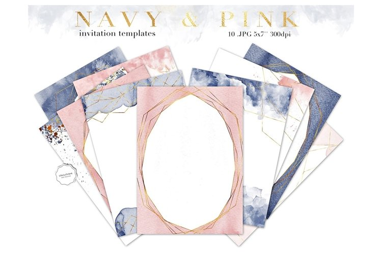 Navy Blue and Pink Invitation Templates example image 1
