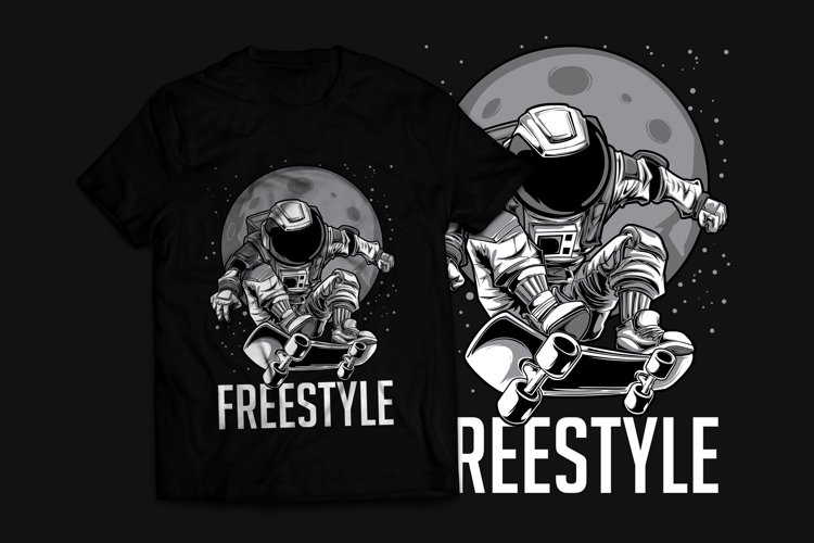 Astronaut Skateboard T-Shirt Design example image 1