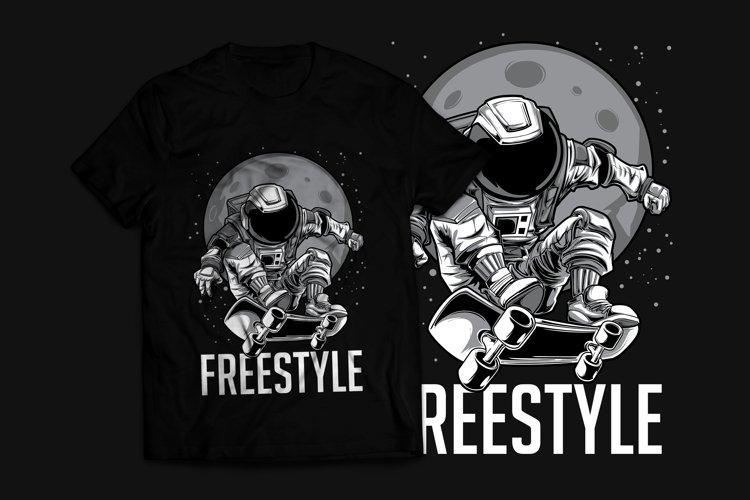 Astronaut Skateboard T-Shirt Design