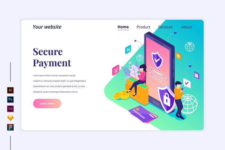 Isometric Secure Payment Landing page illustration