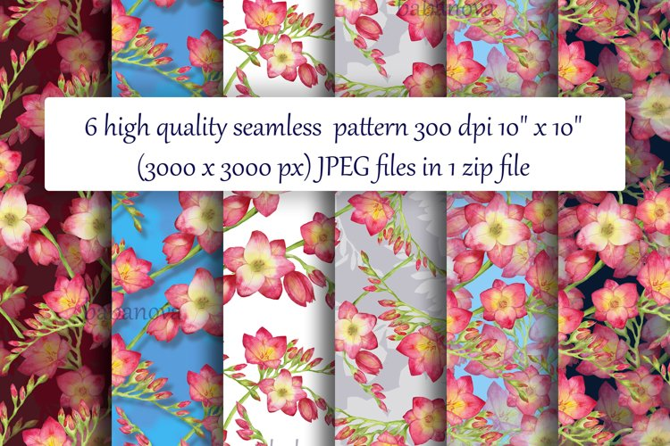 red flowers freesia seamless pattern watercolor example image 1