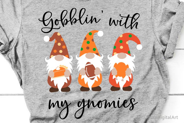 Gobbling with My Gnomies Svg, Thanksgiving Gnomes Kids Svg