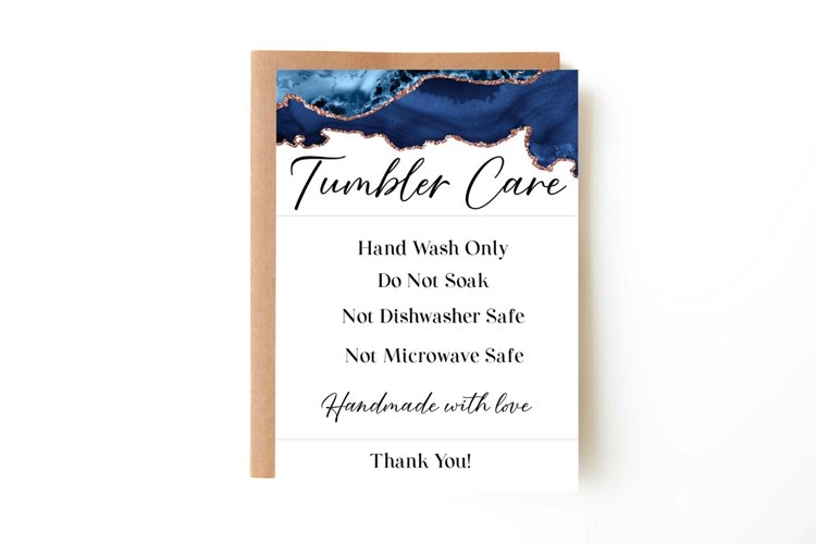 Tumbler Care Card, Print and Cut Care Card for Tumblers