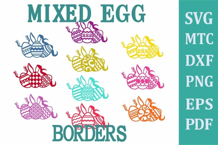 Easter Egg Mixed Border HUNTING SVG Cut File PNG DXF PDF