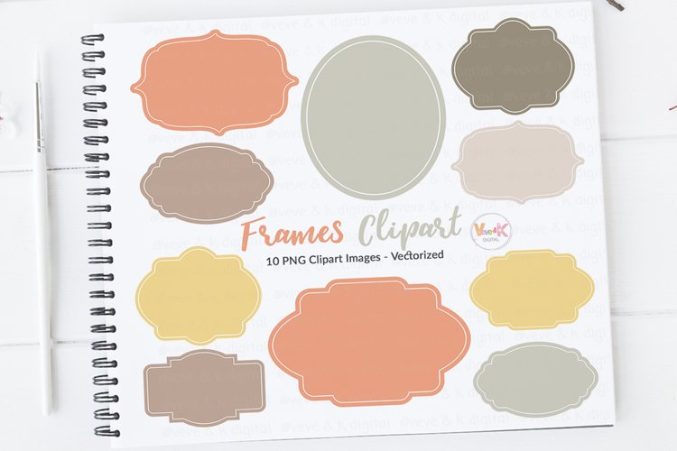 Frames Clipart, Digital Frames, Clipart Labels, Digital Download, Clip Art, Digital Clipart Frames, Commercial Use Clipart, Orange Frames