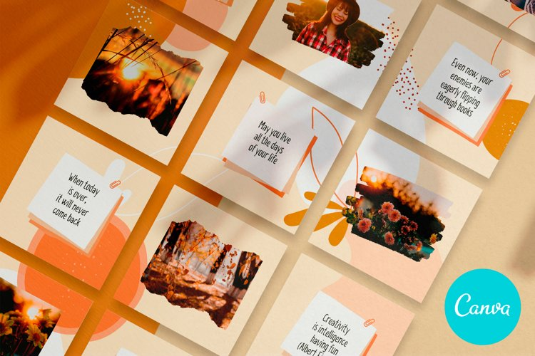 Instagram Puzzle Template for Canva Autumn, Aesthetic Cozy