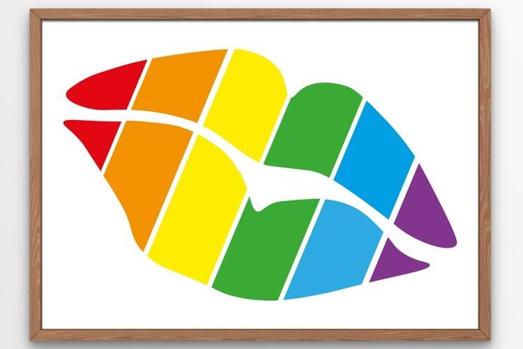 Pride lips SVG Multicolored lips SVG Rainbow 1 example image 1