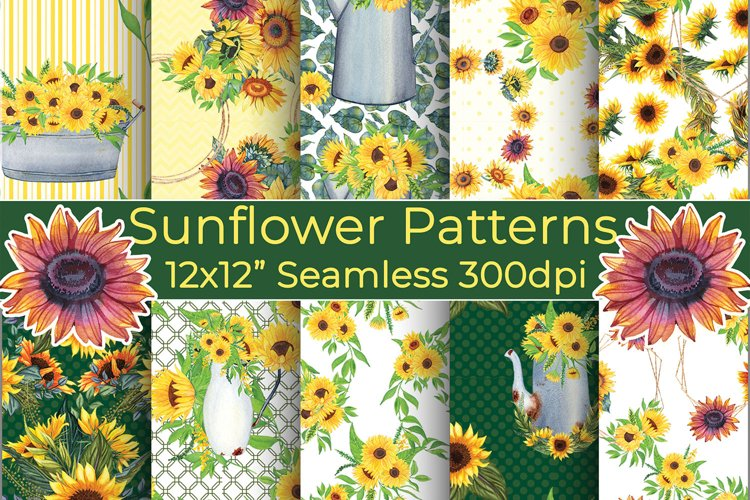 Sunflowers Seamless Papers, Yellow and Green Backgrounds
