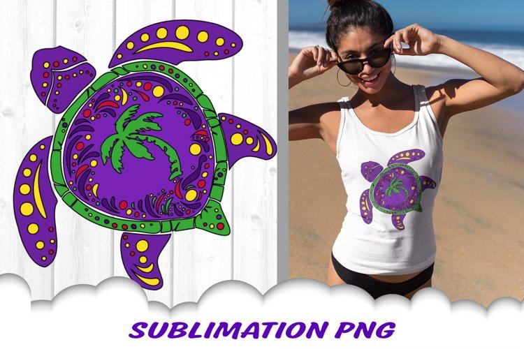 Mardi Gras Sea Turtle Palm Beach Sublimation PNG