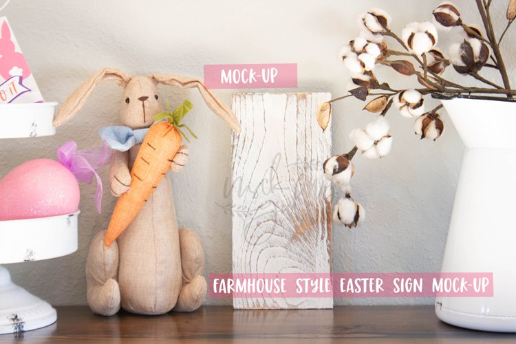 Easter Sign Mock Up - White Distressed Rectangle - Vertical