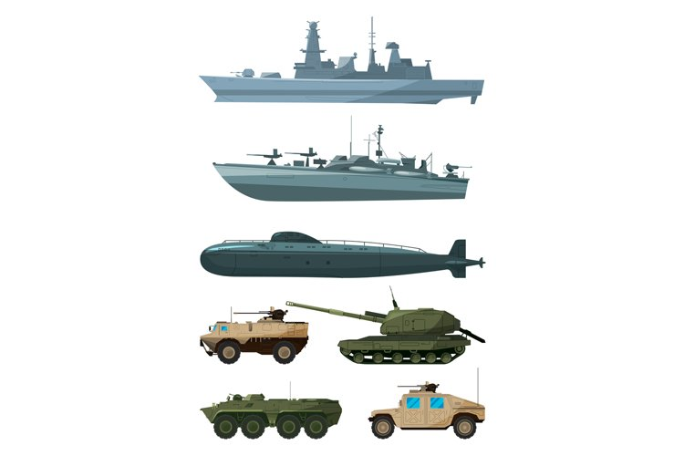 Warships and armored vehicles of land forces. Military trans example image 1