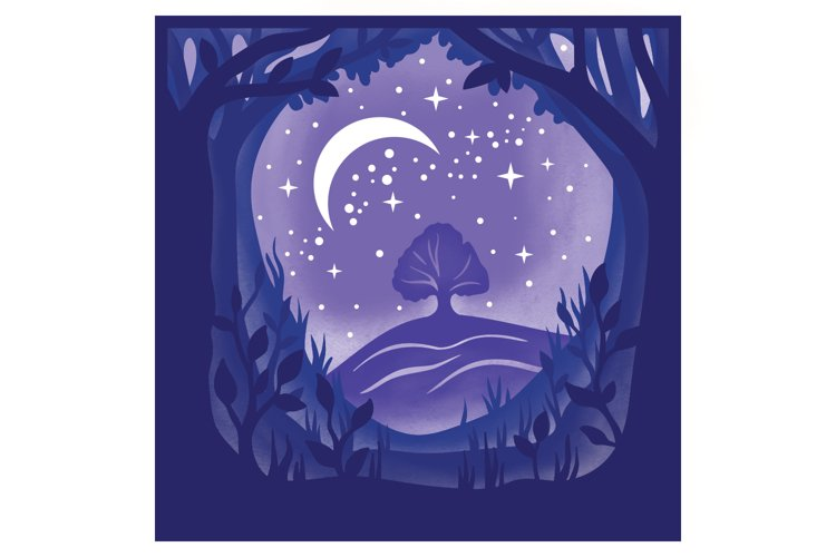 Forest Night Light Box - 5 layers example 4