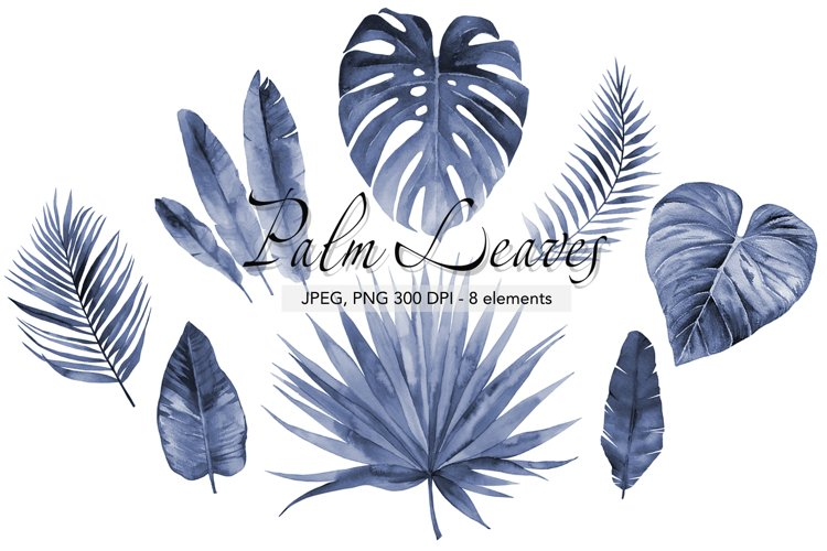 Watercolor blue foliage Navy blue Palm leaves Tropical Leafs