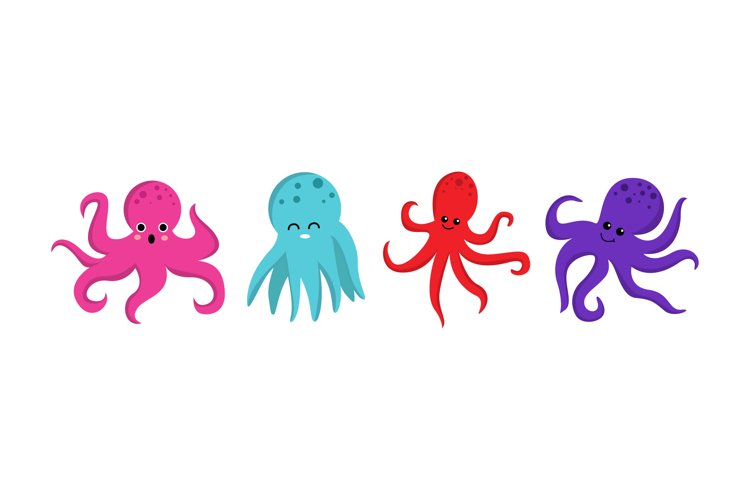 Cute Octopus Illustrations example image 1