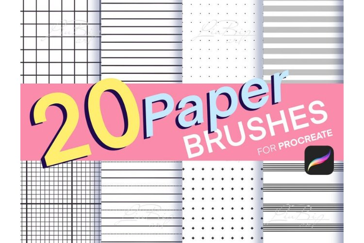20 Procreate Paper Brushes Set. Lined Grid Dotted Pac