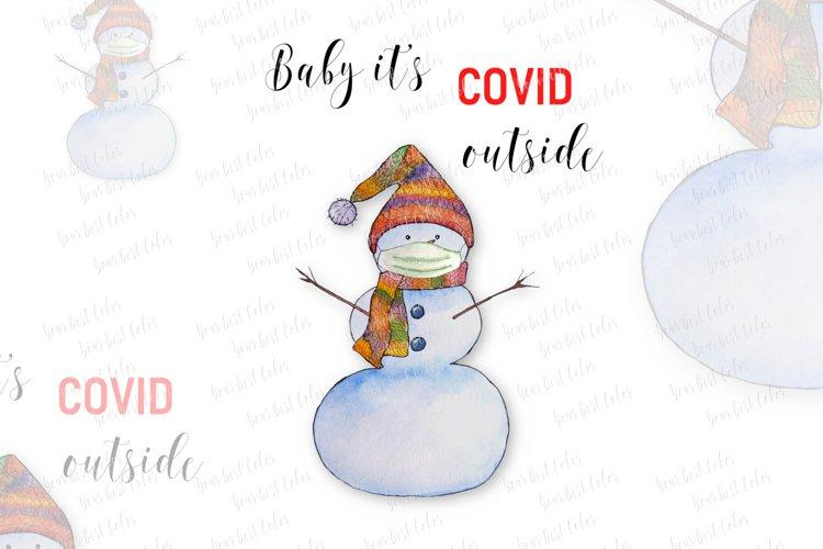 Winter sublimation, watercolor snowman, pandemic sublimation