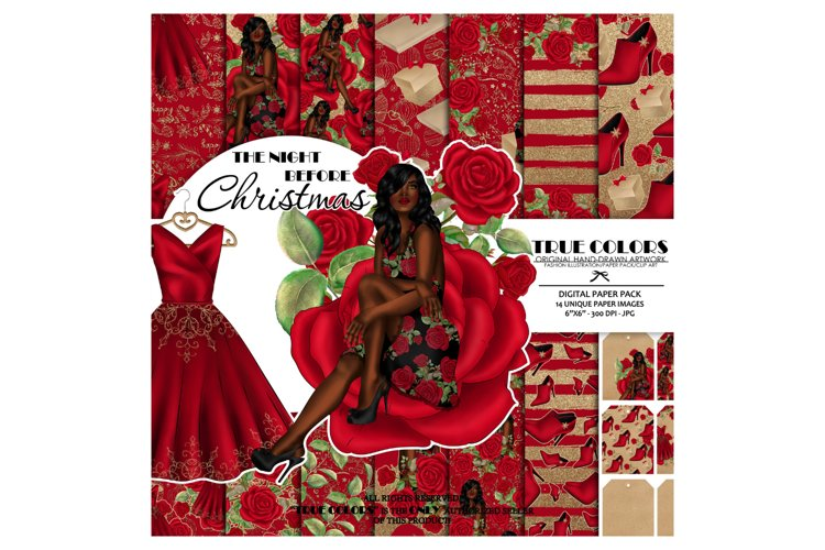 Afro American Princess Digital Paper Christmas example image 1