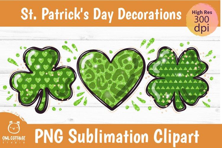 St. Patricks day sublimation, Clover Leaf png, Glitter heart