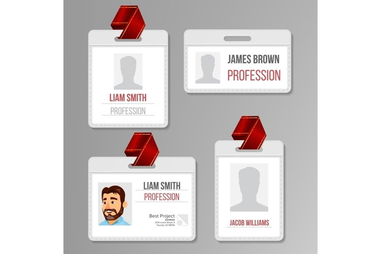 Identification Badge Set Vector. Id Card Blank. Name example image 1