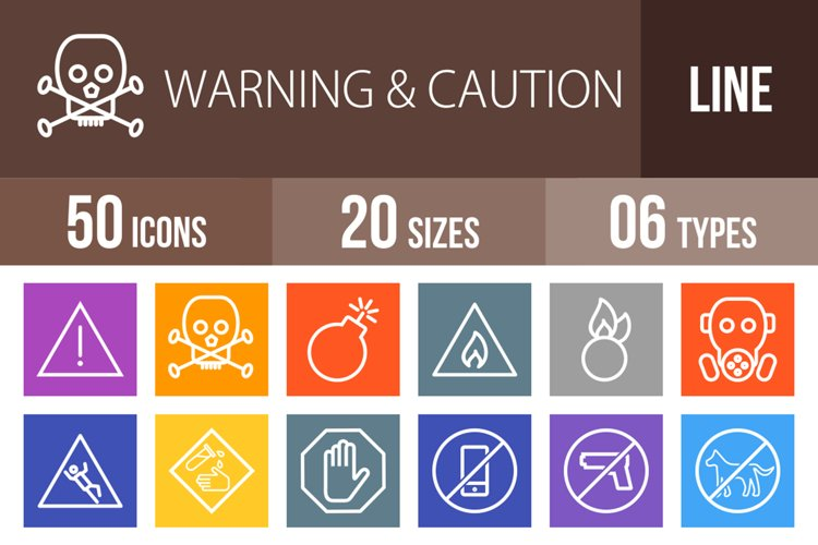 50 Warning & Caution Line Multicolor B/G Icons example image 1
