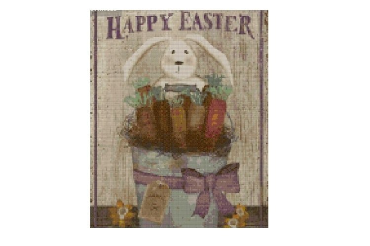 """Primitive """"Happy Easter"""" Cross Stitch Pattern example image 1"""