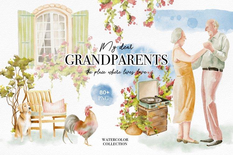 Grandparents couples watercolor set