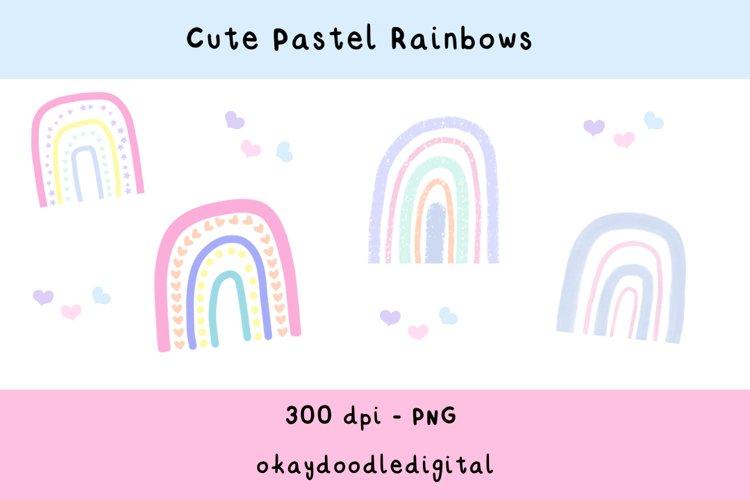 Cute Pastel Rainbow Clipart - Digital Scrapbooking Elements