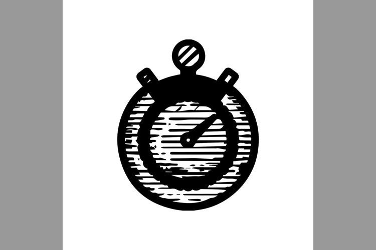 hand drawn stopwatch symbol line icon, Vector Illustration example image 1
