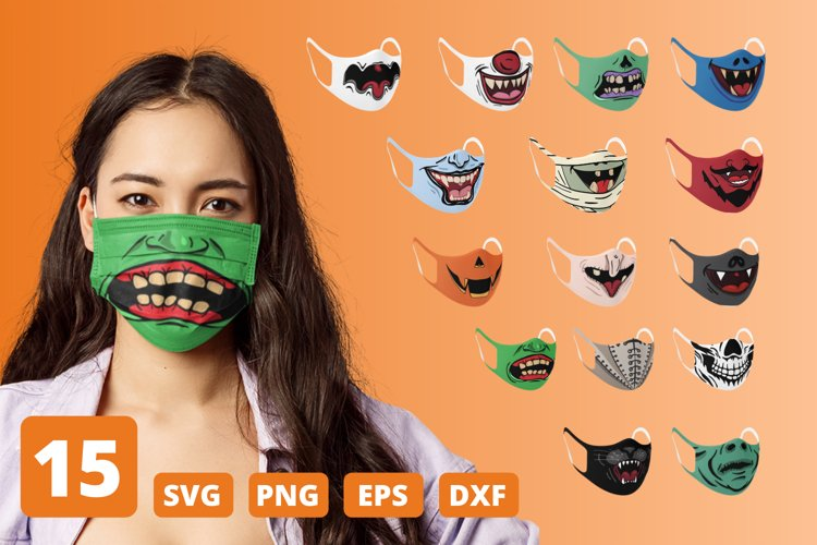 Halloween Face Mask SVG Bundle, funny mouth cricut pattern example image 1