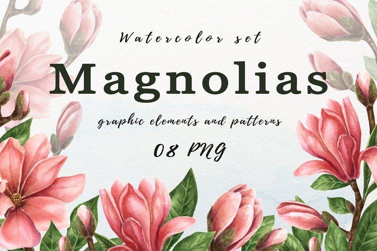 Magnolias. Watercolor set of illustrations