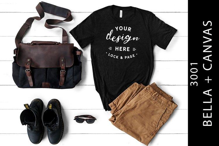 Men's Heather Black Bella Canvas 3001 Mockup T-Shirt Flatlay example image 1