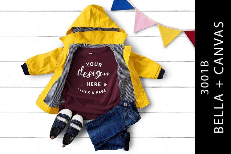 Kids Heather Maroon Bella Canvas 3001B T-Shirt Mockup example image 1